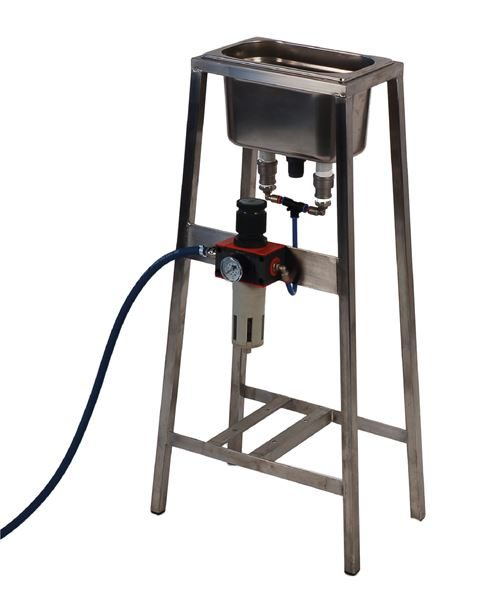 Twin nozzle air jet blower on stand