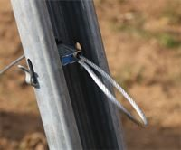 Showing GPAK's wire rope secured to metal end post