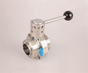 "1½"" RJT male x 1½"" RJT male stainless steel butterfly valve"