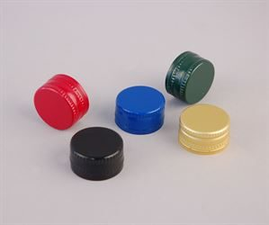 Aluminium ROPP (Roll-on pilfer-proof) caps - PLEASE NOTE, silver caps also available - these are not shown in the photo