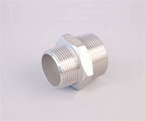 "1½"" BSP male x 1¼"" BSP male  stainless steel hexagon reducing nipple"