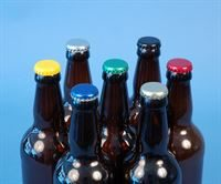 Crown caps (26mm Ø) shown on bottles (not supplied)- PLEASE NOTE the blue, red and green crowns are no longer supplied with a silver skirt - they are one colour