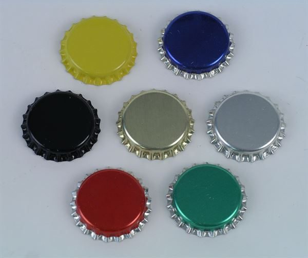 Crown caps (26mm Ø) - PLEASE NOTE the blue, red and green crowns are no longer supplied with a silver skirt - they are one colour
